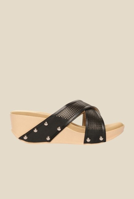 Bruno Manetti Black Cross Strap Wedges