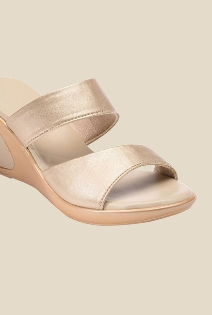 Bruno Manetti Gold Wedge Heeled Sandals