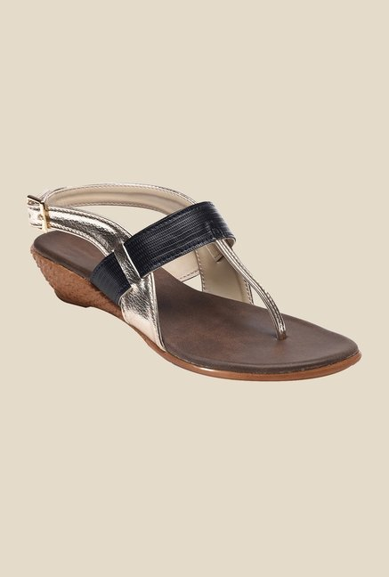 Bruno Manetti Gold & Black Back Strap Wedges