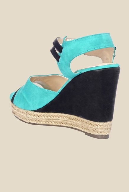 Bruno Manetti Turquoise & Black Ankle Strap Wedges