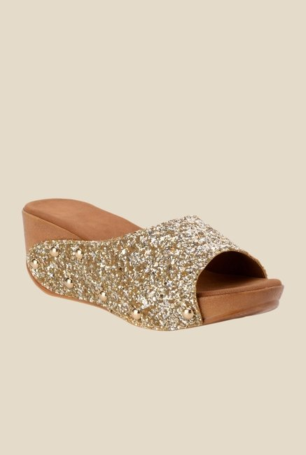 Bruno Manetti Golden Wedge Heeled Sandals