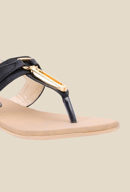 Bruno Manetti Black T-Strap Sandals