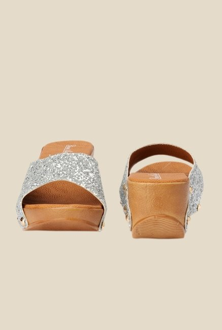 Bruno Manetti Silver Wedge Heeled Sandals