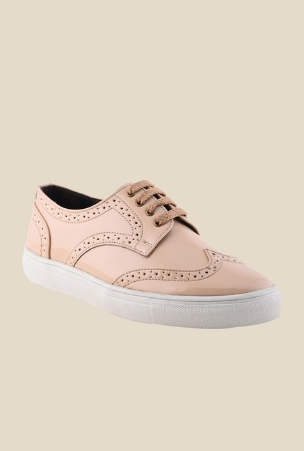 Bruno Manetti Beige & White Brogue Sneakers