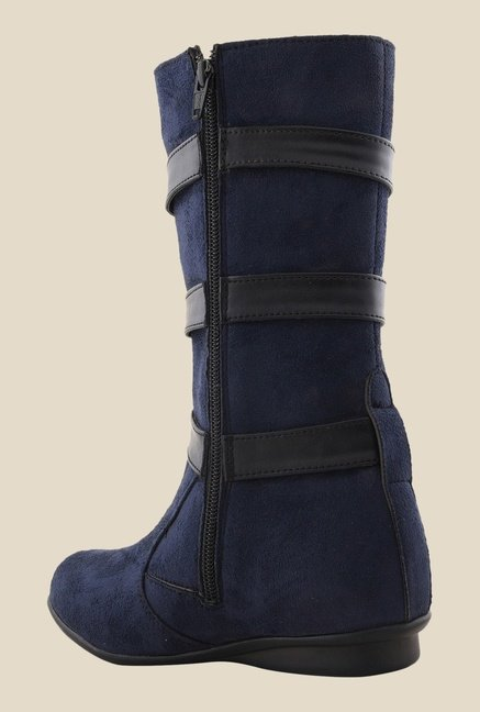 Bruno Manetti Navy Flat Booties