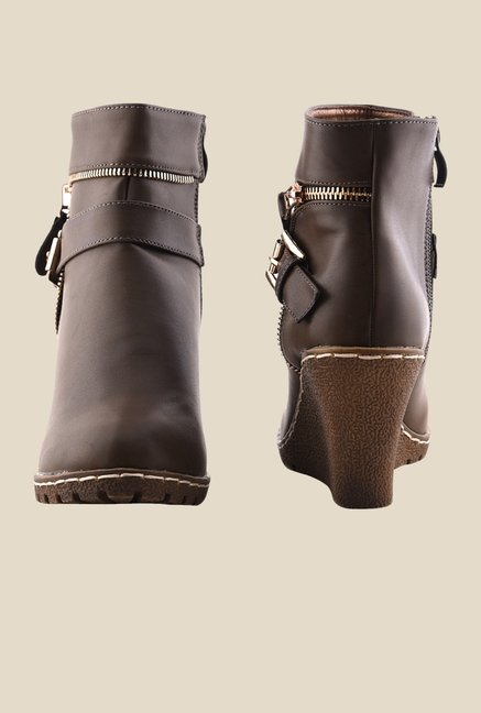 Bruno Manetti Dark Brown Wedge Heeled Booties