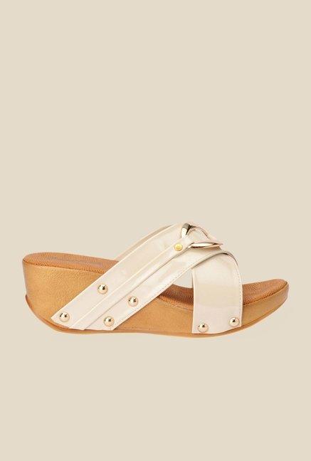 Bruno Manetti Cream Cross Strap Wedges