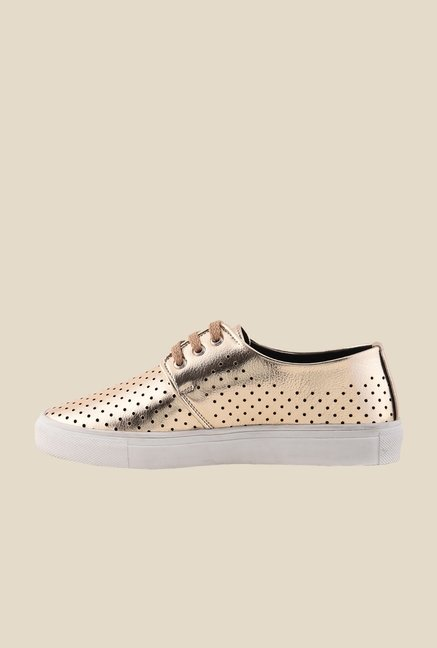 Bruno Manetti Gold & White Derby Sneakers