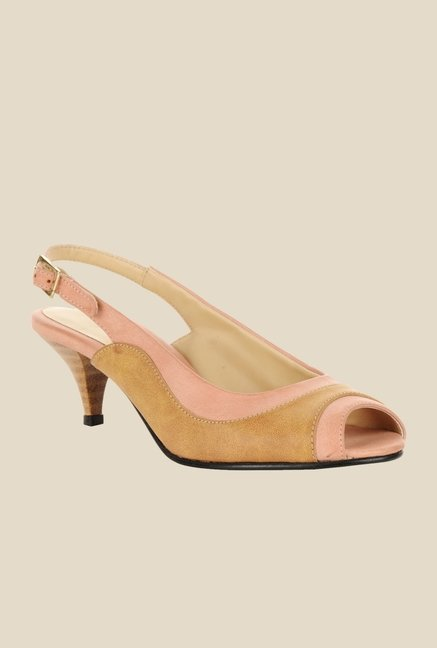 Bruno Manetti Tan & Peach Back Strap Sandals