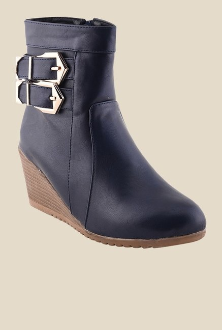 Bruno Manetti Navy Wedge Heeled Booties