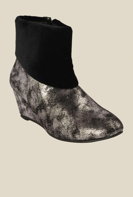 Bruno Manetti Silver & Black Wedge Heeled Booties