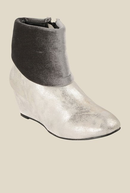 Bruno Manetti White & Grey Wedge Heeled Booties
