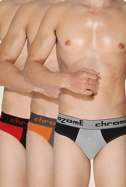 Chromozome Grey, Charcoal & Black Briefs (Pack Of 3)