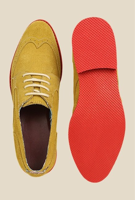 Bruno Manetti Yellow & Red Derby Shoes