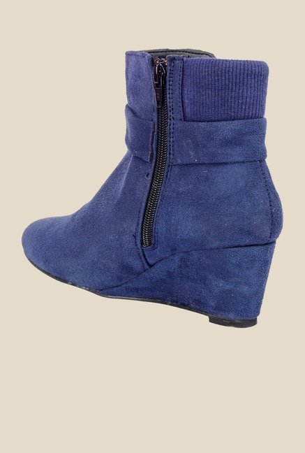 Bruno Manetti Blue Wedge Heeled Booties