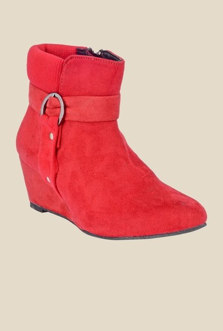 Bruno Manetti Red Wedge Heeled Booties