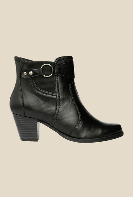 Bruno Manetti Black Block Heeled Booties