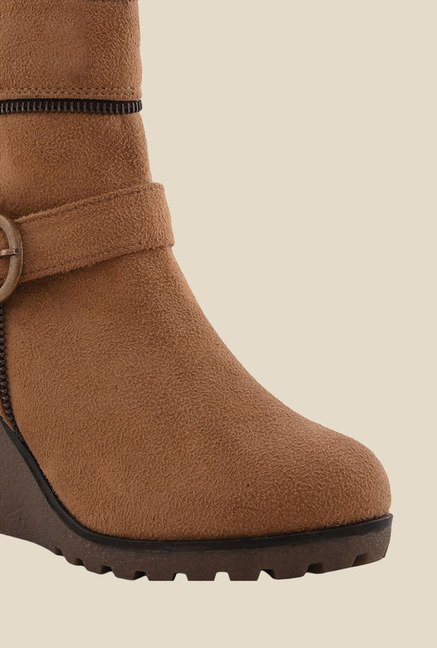 Bruno Manetti Beige Wedge Heeled Booties