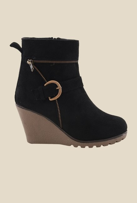 Bruno Manetti Black Wedge Heeled Booties