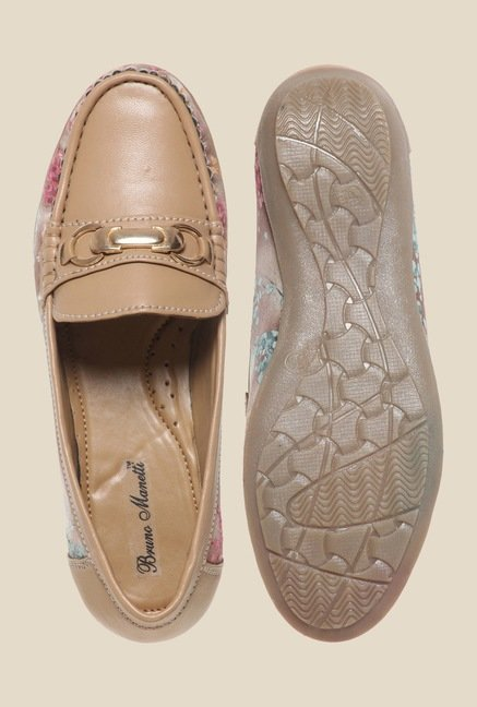 Bruno Manetti Beige & Brown Loafers