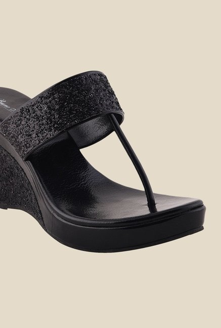 Bruno Manetti Black T-Strap Wedges