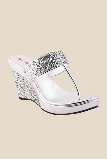 Bruno Manetti Silver T-Strap Wedges