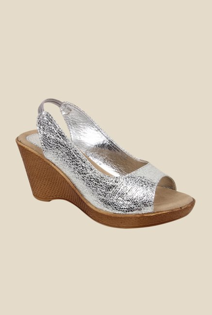 Bruno Manetti Silver Sling Back Wedges