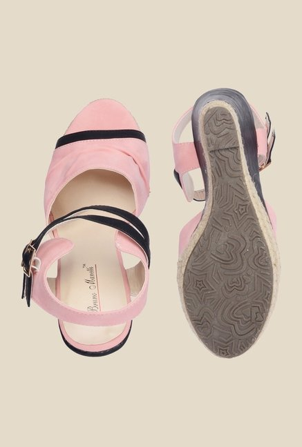 Bruno Manetti Pink & Black Ankle Strap Wedges