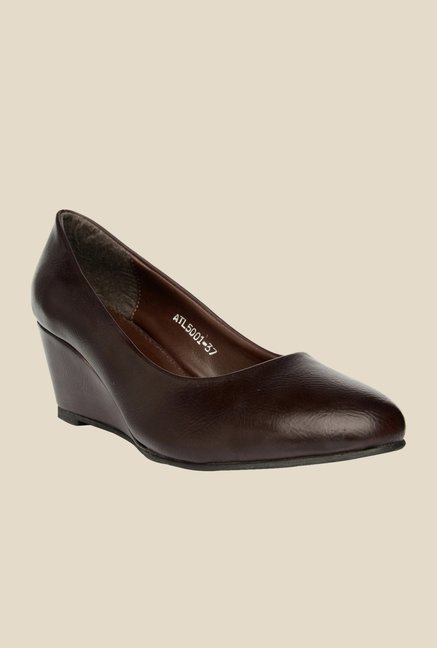 Bruno Manetti Brown Wedge Heeled Pumps