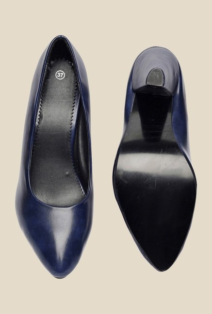 Bruno Manetti Navy Stiletto Heeled Pumps