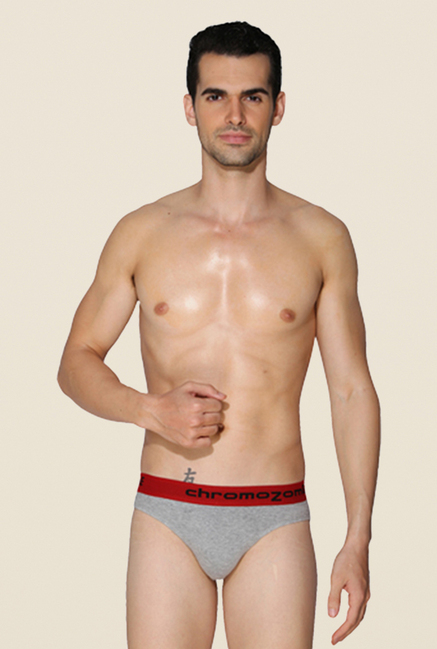 Chromozome Grey, Charcoal & Red Briefs (Pack Of 3)