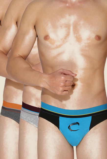 Chromozome Black, Grey & Charcoal Briefs (Pack Of 3)