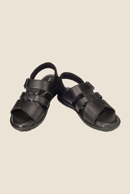 Khadim's British Walkers Black Leather Sandals