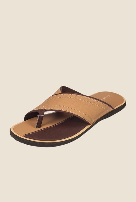 Khadim's Beige & Brown Thong Sandals