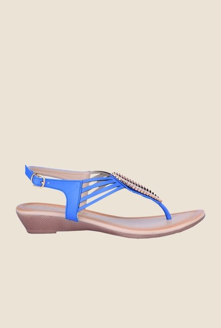 Khadim's Cleo Blue Back Strap Sandals