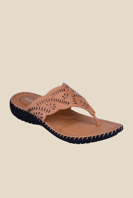 Khadim's Tan Wedge Heeled Thongs