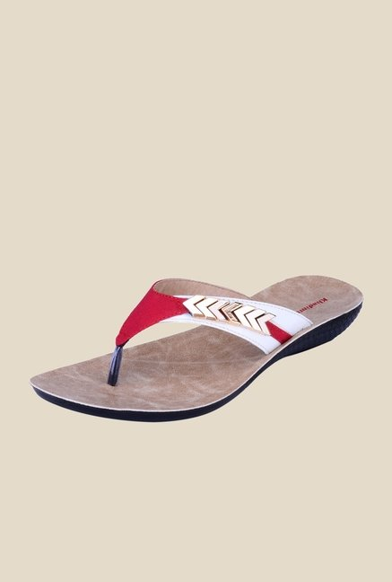 Khadim's Red & White Thong Sandals