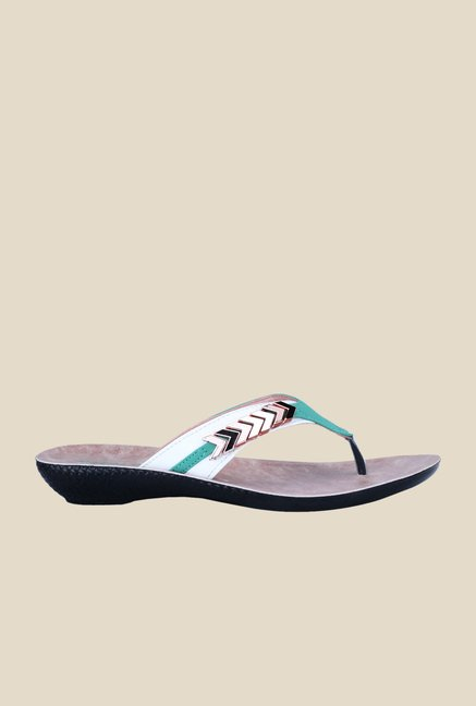 Khadim's Turquoise & White Thong Sandals