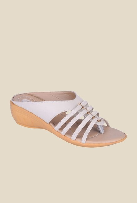 Khadim's White Wedge Heeled Sandals