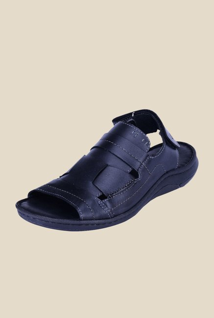 Khadim's British Walkers Black Back Strap Sandals