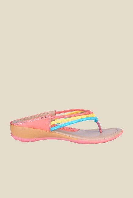 Khadim's Cleo Peach & Yellow Thong Sandals
