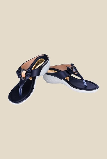 Khadim's Cleo Black Thong Sandals