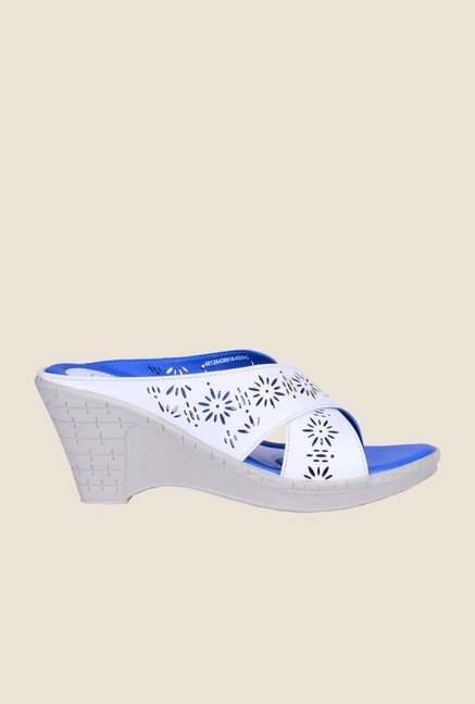 Khadim's Cleo White Slide Wedges