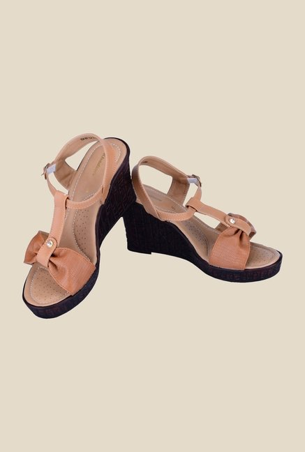 Khadim's Brown Ankle Strap Wedges