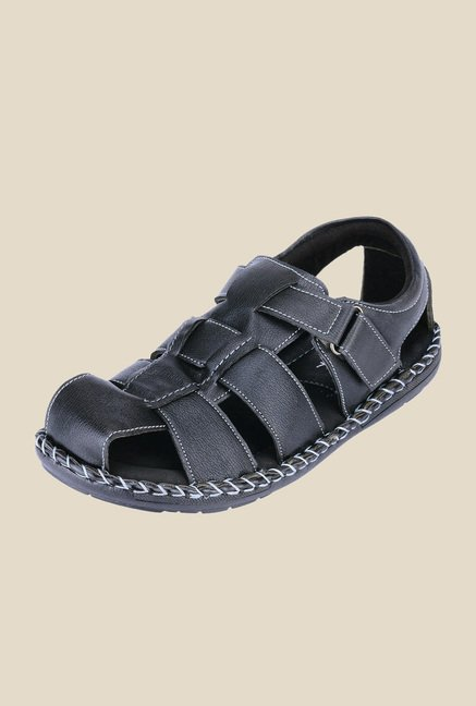 Khadim's Softouch Black Fisherman Sandals