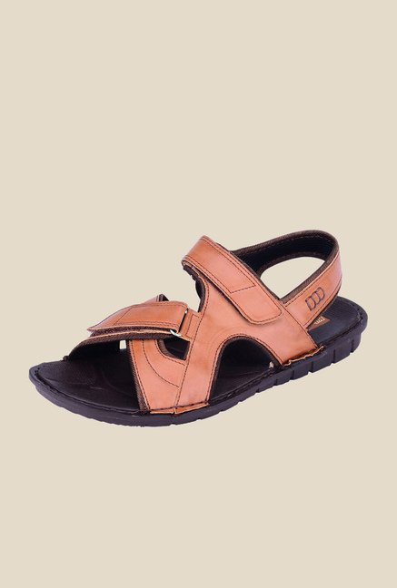 Khadim's Brown Cross Strap Sandals