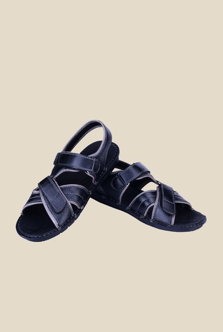 Khadim's Black Cross Strap Sandals
