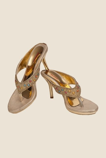Khadim's Golden Thong Stilettos