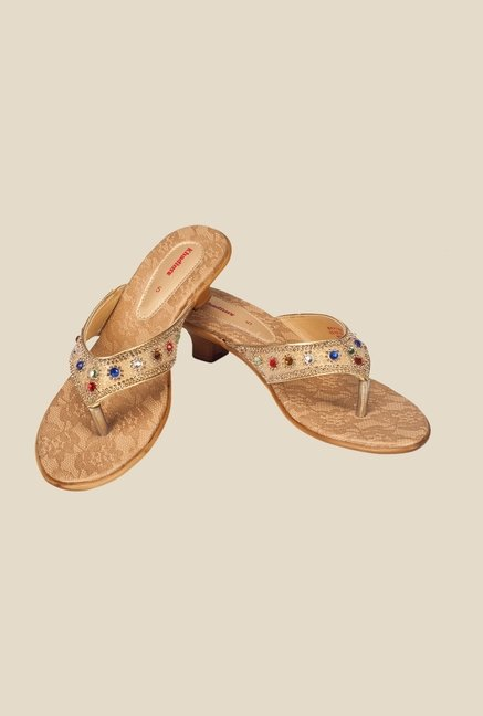Khadim's Gold & Bronze Thong Sandals