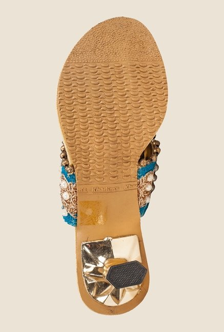 Khadim's Blue & Gold T-Strap Sandals